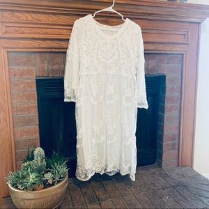 White Embroidered/Lace Dress